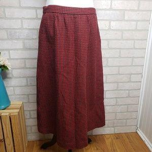 Vintage Jack Winter Black & Red Wool Blend Skirt